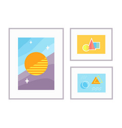 set abstract artworks in frames vector image