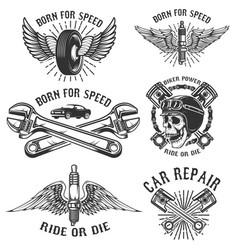 Set car repair and racing emblems spark plug vector