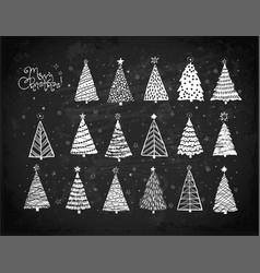 set christmas tree doodles hand drawn vector image