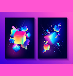 set creative design posters vector image
