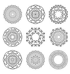 Set Mandalas Round Ornament vector