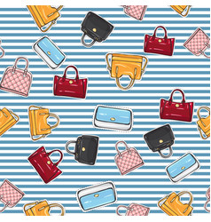 Set of different women handbags endless texture vector