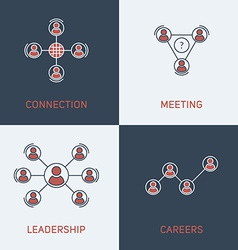 Set of Modern Thin Line Icons Connection Meeting vector
