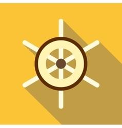 Ship wheel icon flat style vector