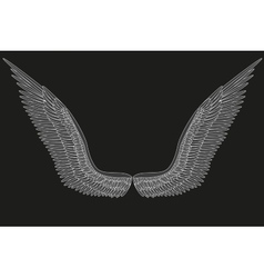 Sketch open angel wings vector image
