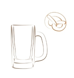 Sketched beer mug and bretzel vector image