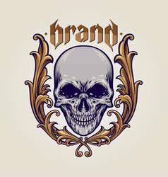 skull frame ornaments vector image