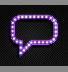 speech bubble with lamps realistic glowing purple vector image