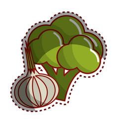 Sticker broccoli and onion vegetable icon vector
