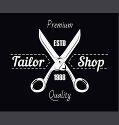 Tailor shop salon scissors and sewing stitch vector