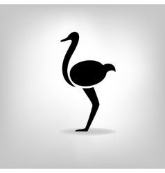 The black stylized silhouette of an ostrich vector image