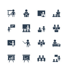training presentation icon set in glyph style vector image