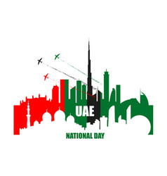 Uae national day poster with landmarks vector