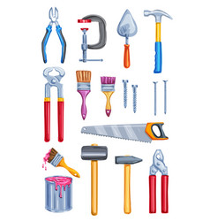 Watercolor work tool home repair instrument vector