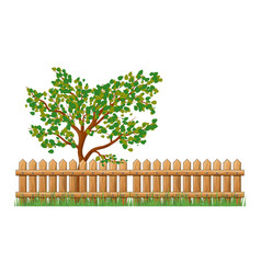 wooden fence with grass and tree isolated symbol vector image
