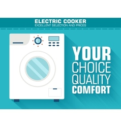 Flat washing machine with the slogan on the vector