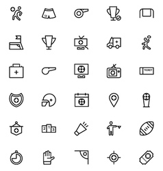Football line icons 4 vector