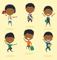 happy african american school boys jumping outdoor vector image