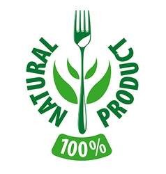 logo fork and leaves for natural products vector image
