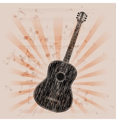 musical background acoustic guitar vector image