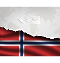 paper with hole and shadows NORWAY flag vector image vector image