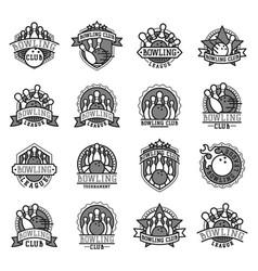 bowling emblem and black white design vector image
