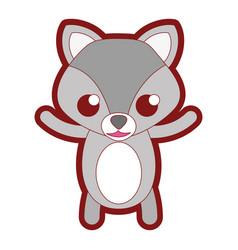 line color happy fox cute wild animal vector image