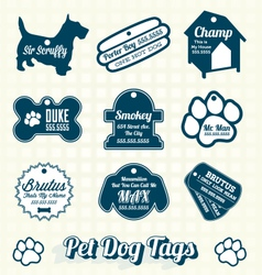 Pet Dog Name Tag Labels and Icons vector image vector image