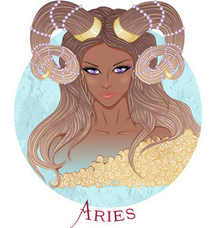 Astrological sign of Aries as a african girl vector image