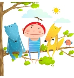 Baby animals and kid childish funny friends vector image