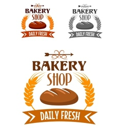 Bakery shop logo with fresh bread vector image vector image