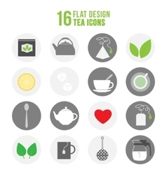 Flat colorful design tea icons set vector image