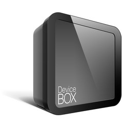 Realistic Black Package Box Square shape with a vector image