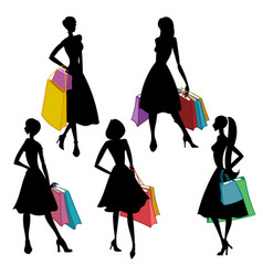 silhouettes of women with shopping bags vector image vector image