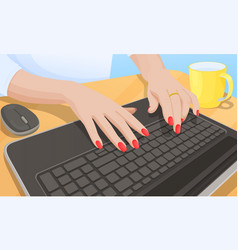 woman typing on keyboard vector image