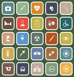 Medical flat icons on green background vector image vector image