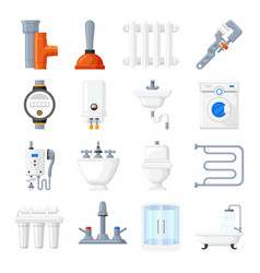 plumbing equipment and tools icons vector image