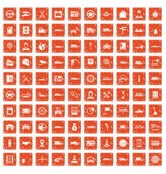 100 auto icons set grunge orange vector image
