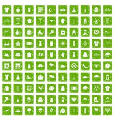 100 clothing icons set grunge green vector image