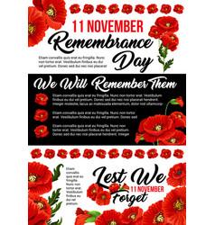 11 november poppy remembrance day poster vector