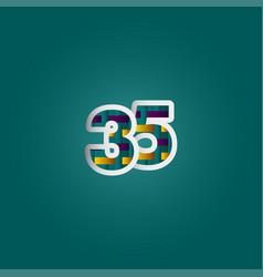 35 years anniversary celebration elegant color vector