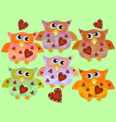 A set six cool owls with drunken flickering vector