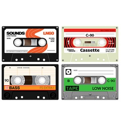 Audio plastic cassette tapes vector