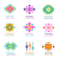 Aztec or apache motif style logo set native vector