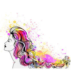 beautiful young woman portrait with colorful vector image