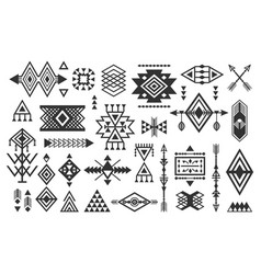Black aztec and tribal signs and symbols icons set vector