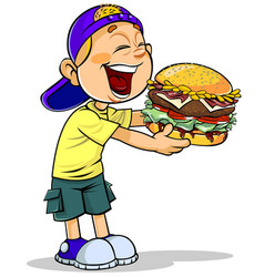 Boy eating burger vector