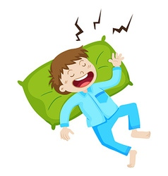 Boy in blue pajamas sleeping vector