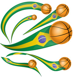 brazil flag element with basketball vector image