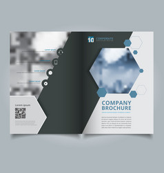 brochure geometric hexagon layout design template vector image
